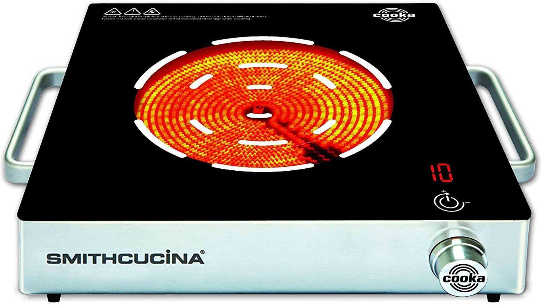 SMITHCUCINA COOKA SINGLE BURNER Radiant Cooktop(Black, Silver, Jog Dial)