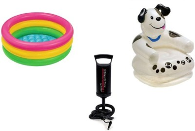 Jainsoneretail Intex Dog Chair,3 Feet Water Bath Tub & Air Pump Inflatable Combo