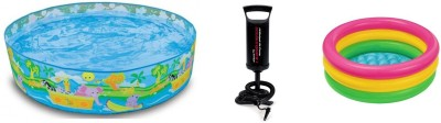 Jainsoneretail Intex 5 Feet Sunset Pool,2 Feet Water Bath Tub & Air Pump Inflatable Combo