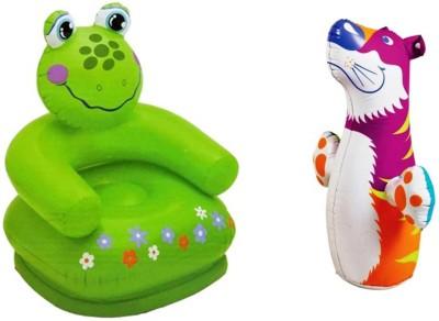 Jainsoneretail Intex 3-D Punching Bop Bag Tiger Shape Bouncers & Frog Chair Inflatable Combo
