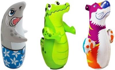 Jainsoneretail Intex 3-D Punching Bop Bag Tiger, Crocodile & Shark Shape Bouncers Inflatable Combo