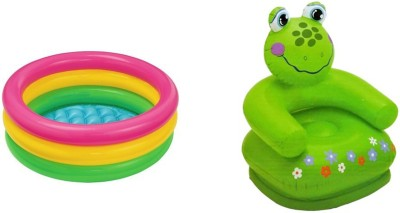 Jainsoneretail Intex 2 Feet Kids Bath Water Tub & Frog Chair Inflatable Combo(Multicolor)
