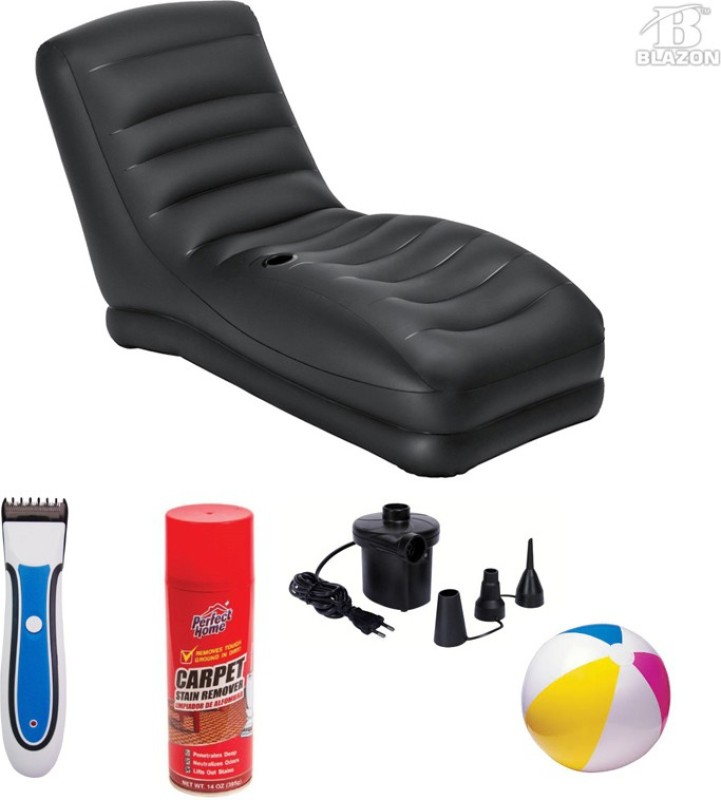 Intex Mehqa Original Mega Lounge Chair with blazon trimmer,carpet cleaner,electric air pump and ball PVC 1 Seater Inflatable Sofa(Color - Black)