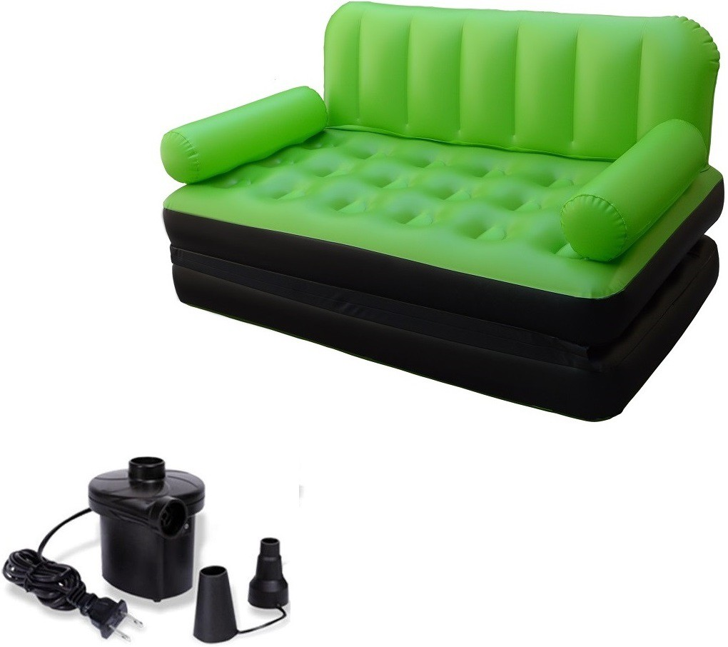 View IBS Airsofa cum Bed 5 In 1 PVC Air Multipurpose Green PP Doublebed Booster Kids Sleeping Mattress Travel Lounge Seat Carbed with Electric Pump PP 3 Seater Inflatable Sofa(Color - Green) Furniture (IBS)