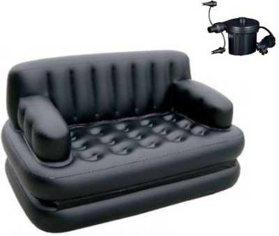 MSE Comfortable Airsofa indoor outdoor Bed AS05 PVC 3 Seater Inflatable Sofa(Color - Black)