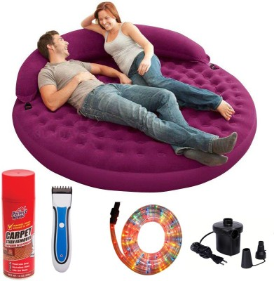 Intex Inflatable Daybed Lounge with Carpet Cleaner, Trimmer, LED Light and air pump PVC 2 Seater Inflatable Sofa(Color - Purple)