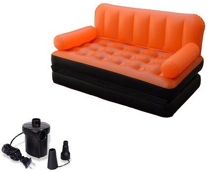 View IBS Airsofa cum Bed 5 In 1 PVC Air Multipurpose Orange PP Doublebed Booster Kids Sleeping Mattress Travel Lounge Seat Carbed with Electric Pump PP 3 Seater Inflatable Sofa(Color - Orange) Furniture (IBS)