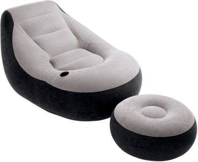 Shrih Ultra Lounge Ottoman Polyester 1 Seater Inflatable Sofa(Color - Grey Black)