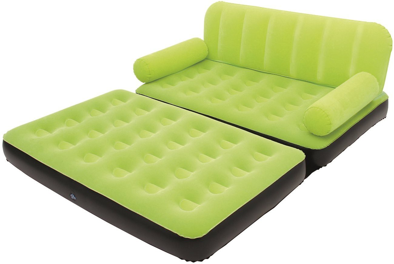 WDS 5 In 1 Air Bed Velvet Mattress Lounge Seat Couch Carbed With Electric Pump PP 3 Seater Inflatable Sofa