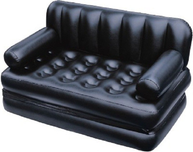 View GENEXTONLINE PVC 3 Seater Inflatable Sofa(Color - Black) Furniture (GENEXTONLINE)