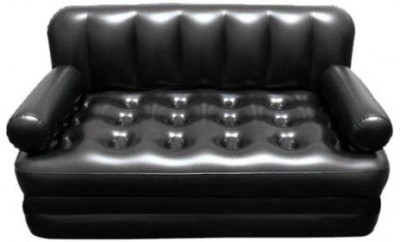 Lovato Airsofa cum Bed 5 In 1 PVC Air Multipurpose Black PP Doublebed Kids Sleeping Mattress Travel Lounge Seat Couch Electric Pump PP 3 Seater Inflatable Sofa