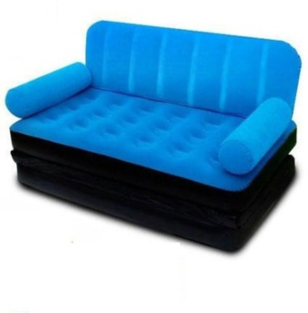 View Khareedi Classy Velvet 3 Seater Inflatable Sofa(Color - Blue) Furniture (Khareedi)