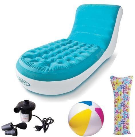 View Intex Blazon Original Splash Lounge PVC 1 Seater Inflatable Sofa(Color - Blue) Furniture (Intex)