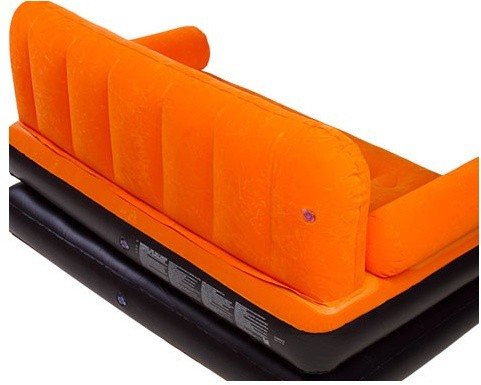 View Airsofa 5 In 1 Air Bed Velvet Mattress Lounge Seat Couch Carbed With Electric Pump PP 3 Seater Inflatable Sofa(Color - Orange) Furniture (Airsofa)