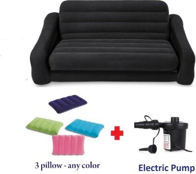 VW Intex VW INTEX Sofa cum Bed Premium Series PVC 3 Seater Inflatable Sofa(Color - BLACK)