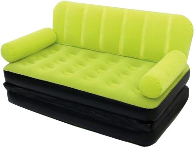Shopper 52 New 5 In 1 Inflatable Air Bed Green Velvet Plastic Double Sofa Bed(Mechanism Type - Fold Out)