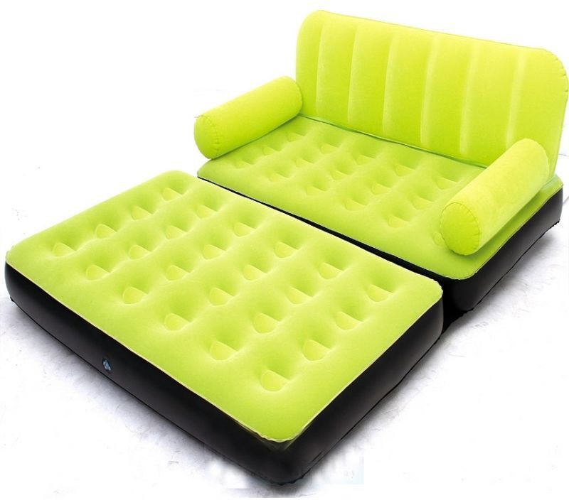 View Airsofa 5 In 1 Air Bed Velvet Mattress Lounge Seat Couch Carbed With Electric Pump PP 3 Seater Inflatable Sofa(Color - Green) Furniture (Airsofa)