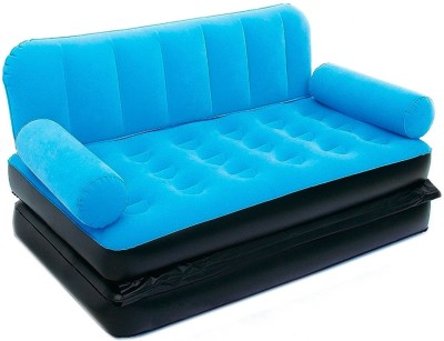 Shrih 5 in 1 Velvet Large Pull Out PVC 3 Seater Inflatable Sofa(Color - Blue)