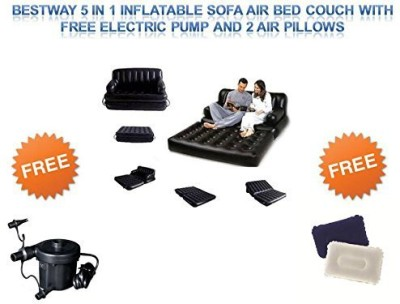 Best Way PVC 3 Seater Inflatable Sofa(Color - Black)