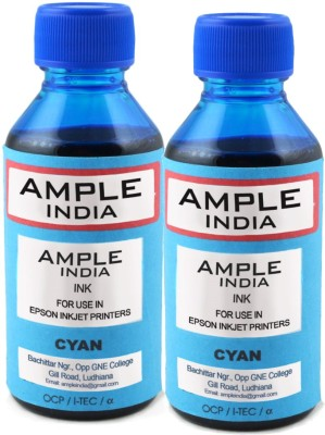 Ample India 100ml Compatible For Epson L100,L110,L200,L210,L300,L350,L355,L550,L555 Cyan Ink