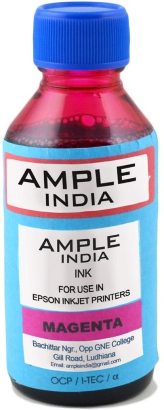 Ample India 100ML Compatible for Epson L100,L110,L200,L210,L300,L350,L355,L550,L555 Single Color Ink(Magenta)