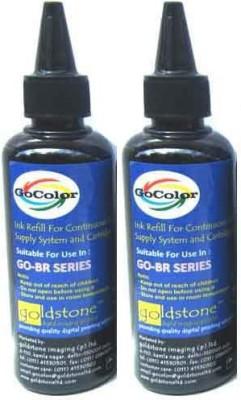 GoColor Brother Premium Quality Inkjet 100 ML X 2 Black Color Combo (Dye Ink) Black Ink