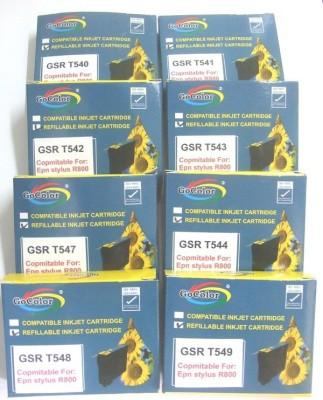 GoColor Refillable Cartridges for Epson Printer R-800 Empty ( 8 Color Set ) White Ink