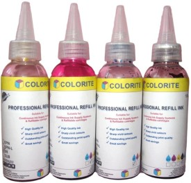 GoColor Epson L Series Premium Quality Inkjet Compatible Ink 100 ML X 4 Colours + 1 Black Extra (Dye Ink Combo) Black Ink