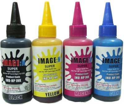 Tip Top Colors HP Premium Quality Inkjet Compatible Ink 100 ML X 4 Colours (Dye Ink Combo) Multicolor Ink