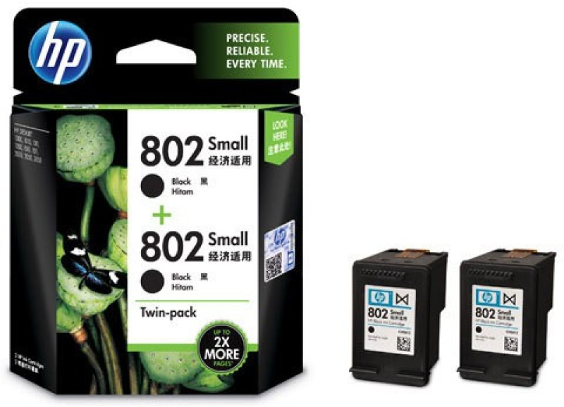 HP 802 Small Twin Pack Single Color Ink(Black)