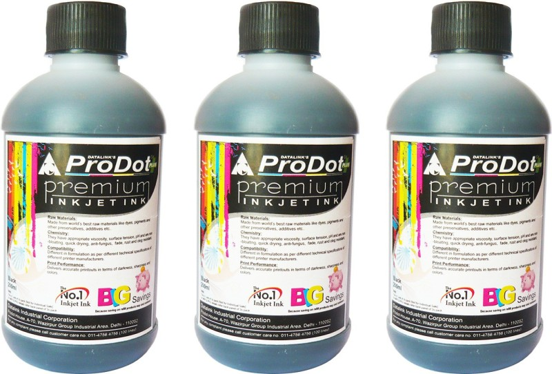 ProDot All Inkjet Printers 200 ml Set Of 3 Single Color Ink(Black)