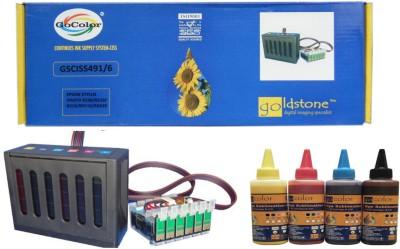 GoColor Continuous Tank Supply System 491/-6 for Epson R210/ R230/ Rx230/ R310/ Rx510/ Rx630 & Sublimation Ink 6 Color Multicolor Ink