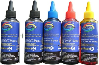 GoColor Canon Premium Quality Inkjet Compatible Ink 100 ML X 4 Colours + 1 Black Extra (Dye Ink Combo) Black Ink