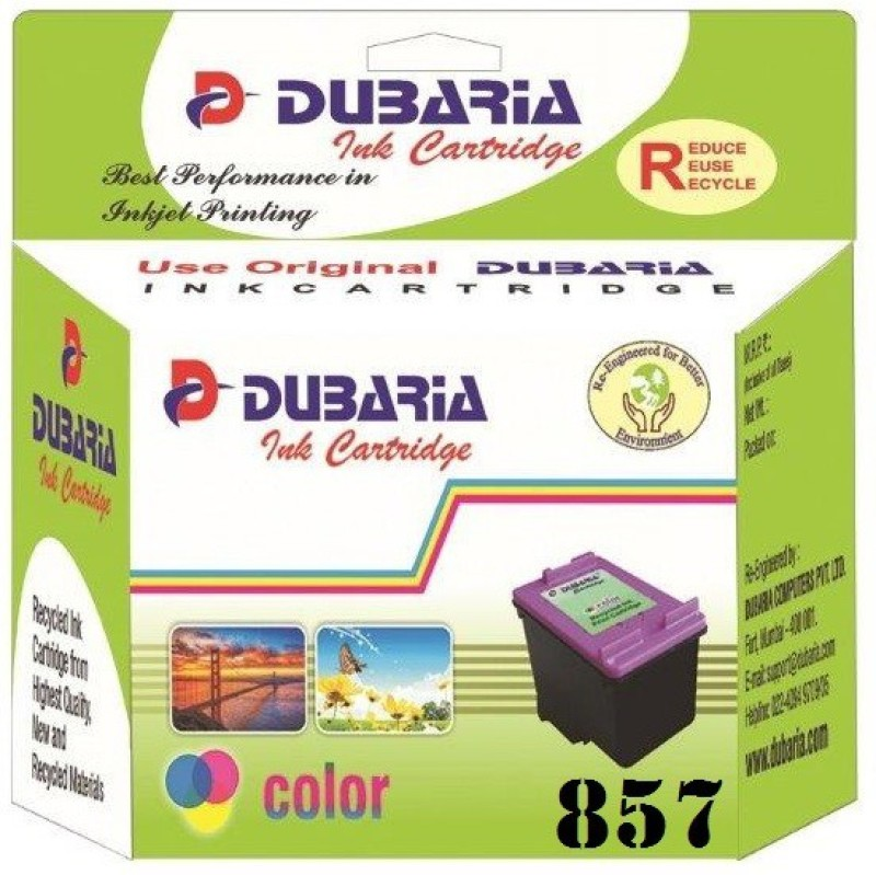 Dubaria 857 TriColor Ink Cartridge Compatible For HP 857 TriColor Ink Cartridge For Use In HP DeskJet 57407, 57482, 65482, 68482, 98082, 98607, 98684, HP Photosmart D51682, 3252, 3352, 3753, 3854, 4254, 4754, 80382, 81582, 84582, 87582, 25784, 26082 All-i