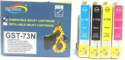 GoColor Compatible Cartridges 73N for All Epson Printer TX210/T13/TX121 Other Printer etc ( One Time Use ) Cyan Ink