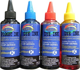 Gocolor HP Premium High Quality Refill Ink Black Pigment & C/M/Y Dye Ink Multicolor Ink