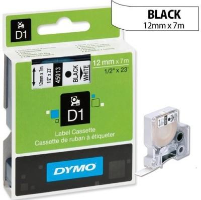 Dymo D1_12mm_Black on White Toner