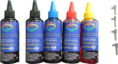 GoColor HP Premium Quality Inkjet Compatible Ink 100 ML X 4 Colour & 1 Black Extra & Easy Refilling Cube Multicolor Ink