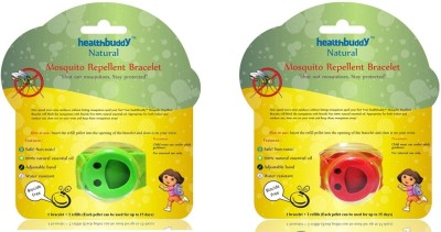 Healthbuddy Natural Mosquito Repellent Bracelet Red & Green Combo (1+1)