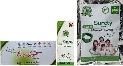 Surety For Safety Freedom + After Bite Spray + Anti Mosquito Bracelet Green