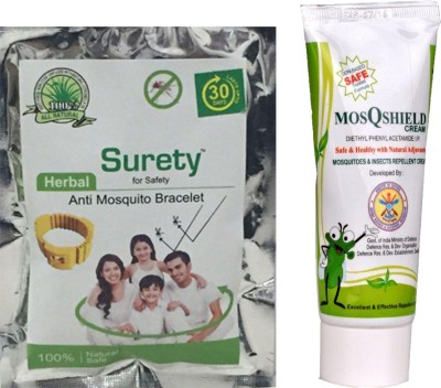 Surety for safety Anti Mosquito Bracelet yellow +MosQShield Cream