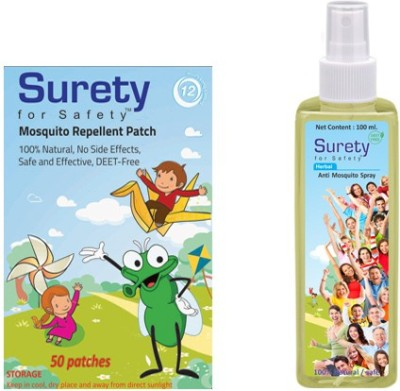 Surety For Safety Herbal Mosquito Patch 50 & Herbal Anti Mosquito Spray 100 ml