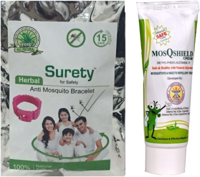 Surety for Safety Anti Mosquito Bracelet pink , MosQshield Cream
