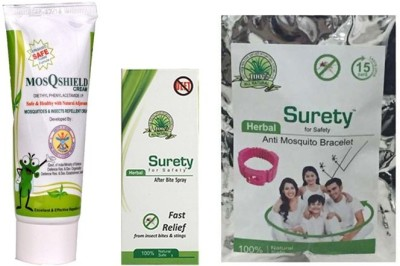 Surety for Safety MosQshield Cream + Herbal Anti Mosquito Bracelet Pink + After bite Spray