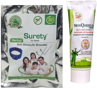 Surety for Safety Herbal Anti Mosquito Bracelet Blue + MosQshield Cream