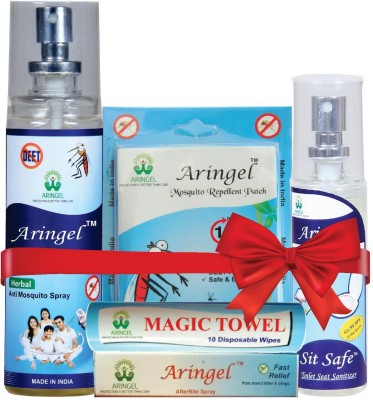 Aringel Herbal Mosquito Repellent 1st Gen 12 Pcs Patch, Anti Mosquito Spray, Sit safe Toilet seat Sanitizer, Magic Towel & After Bite Spray