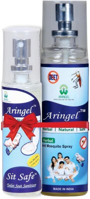 Aringel Anti Mosquito Spray & Sit Safe Toilet Seat Sanitizer(Pack of 100)