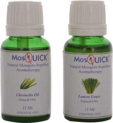 Mosquick Natural Mosquito Repellent Oil, Citronella (15ml) & Lemon Grass (15ml) - 30ml Total