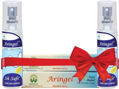 Aringel After Bite Spray 2 pcs & Sit safe Toilet Seat Sanitizer 2pcs(Pack of 300)