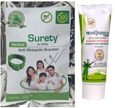 Surety for Safety Anti Mosquito Bracelet Green + MosQshield Cream